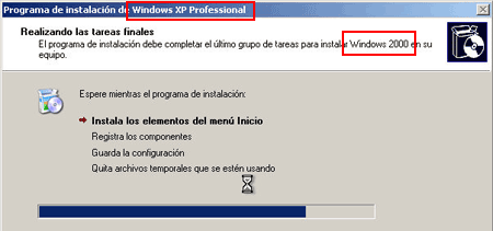 windows xp 2000 instalación