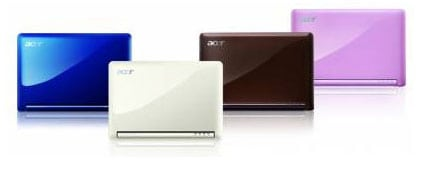 acer aspire one ultraportatil netbook white blanco rosa pink marron brown azul blue colors colores