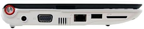 acer aspire one left side AC VGA RJ45 usb storage SDHC
