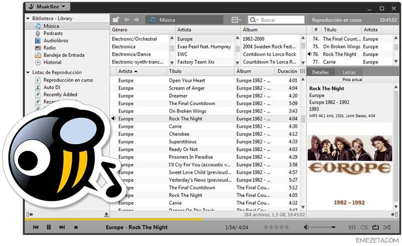 Reproductores de música: Musicbee