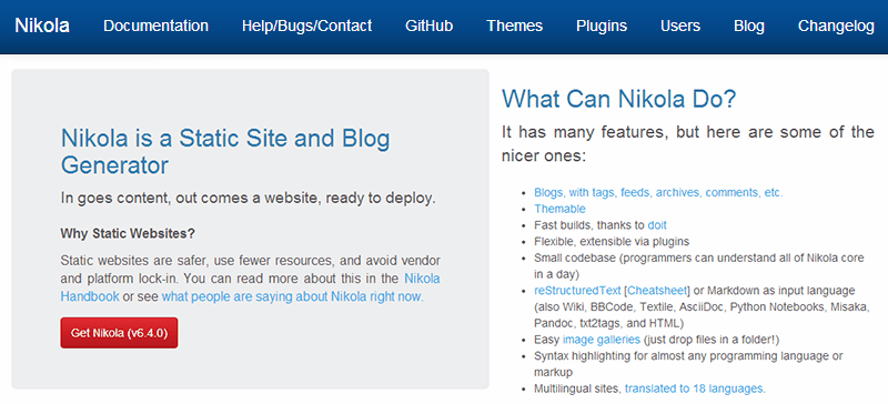 Alternativas a WordPress: Nikola