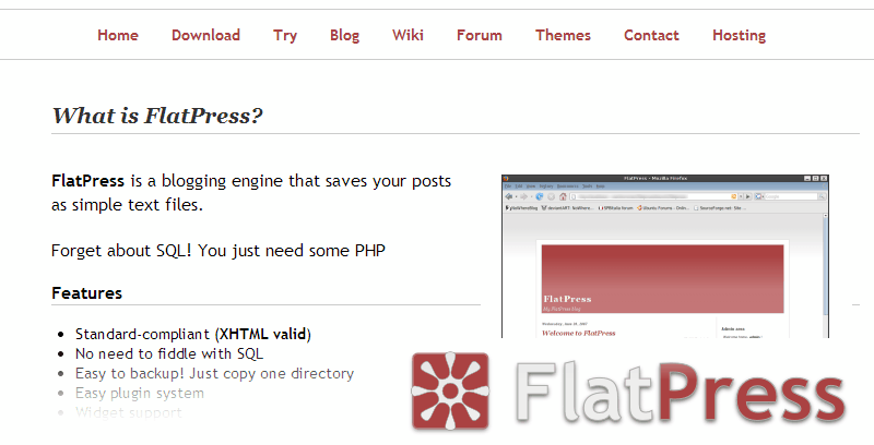 Alternativas a Wordpress: FlatPress