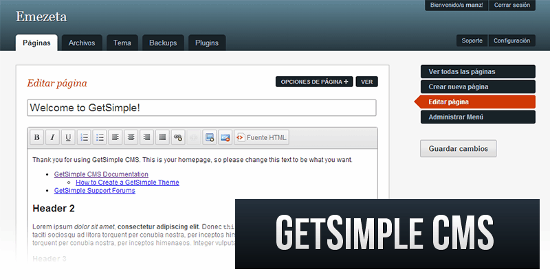 Alternativas a Wordpress: Get Simple CMS