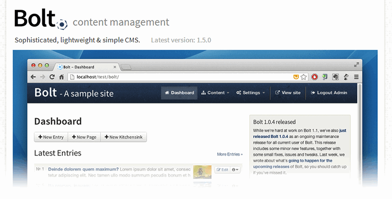 Alternativas a WordPress: Bolt CMS