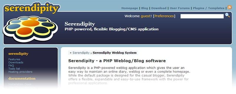 Alternativas a WordPress: Serendipity