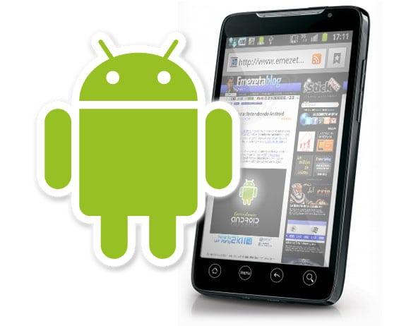 Logotipo de Android con un teléfono basado en Android