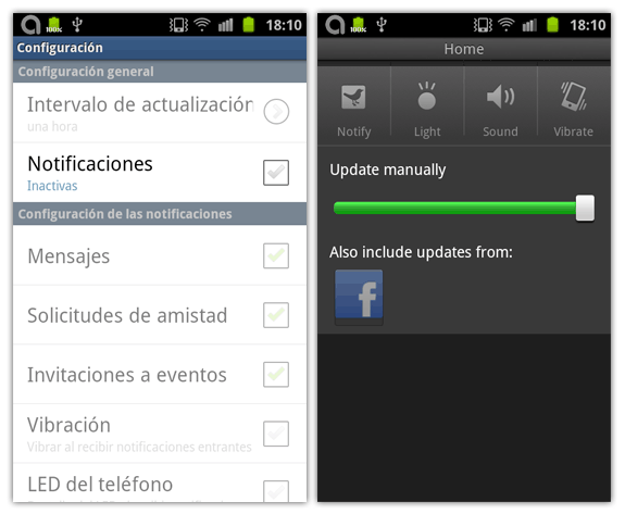 Notificaciones en Facebook y Tweetdeck para Android
