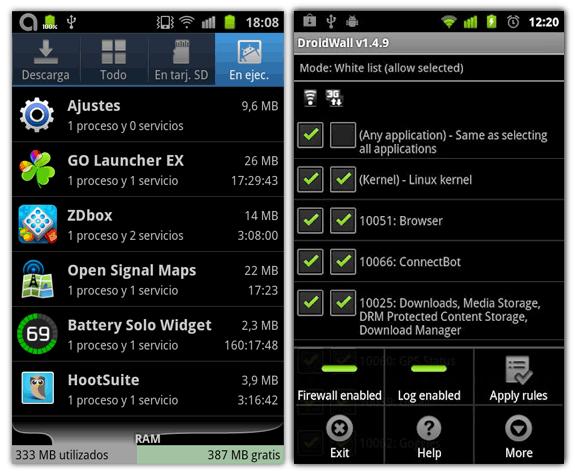 Servicios activos y Droidwall, un firewall para Android