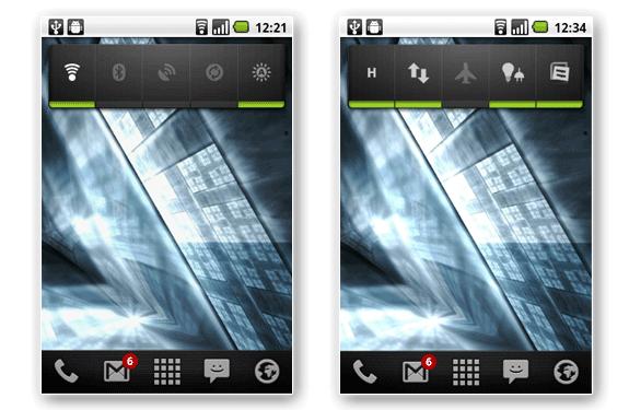 android control energía wifi 3g 2g hdspa bluetooth gps gprs brillo sincronización