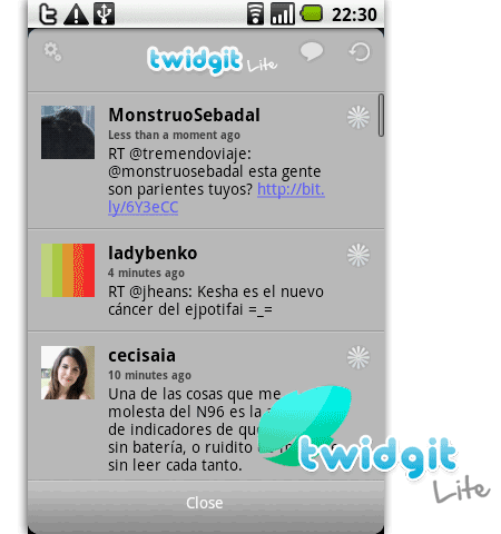 twidgit lite twitter android
