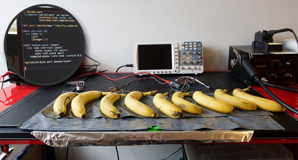 Piano de plátanos tácticles