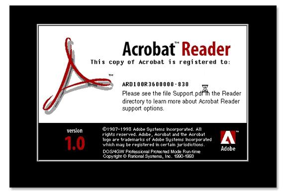 Aplicaciones antiguas: Adobe Acrobat Reader 1.0