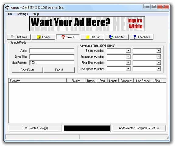 Aplicaciones antiguas: Napster 2.0 beta 3