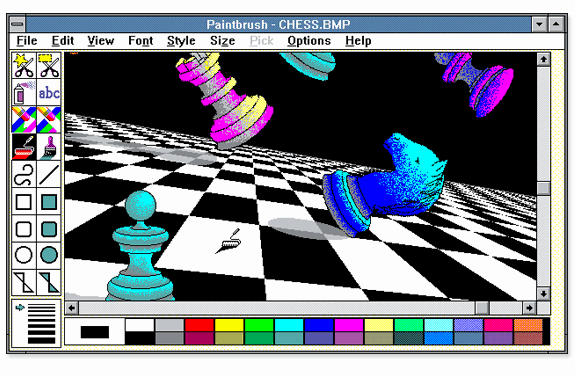 Aplicaciones antiguas: Microsoft PaintBrush (Win95)