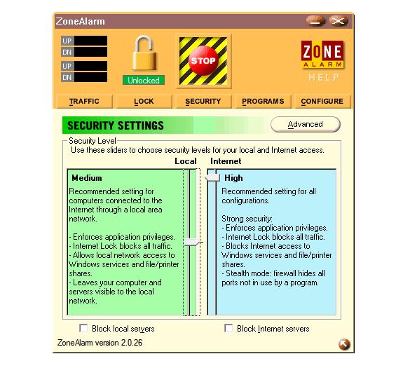 Aplicaciones antiguas: Zone Alarm 2.0