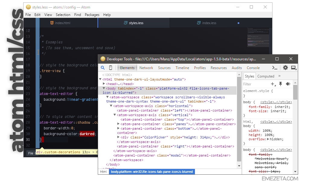 El núcleo de Atom: HTML y CSS