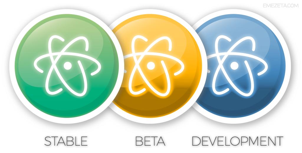 Atom Editor: Versión estable, beta y desarrollo