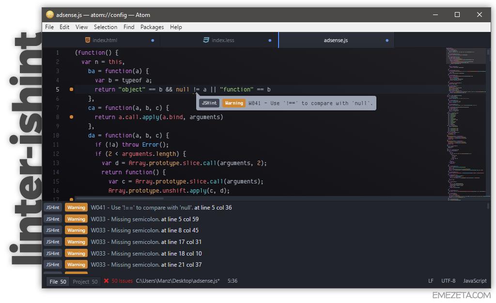 Linter JSHint, un corrector de estilo de Javascript