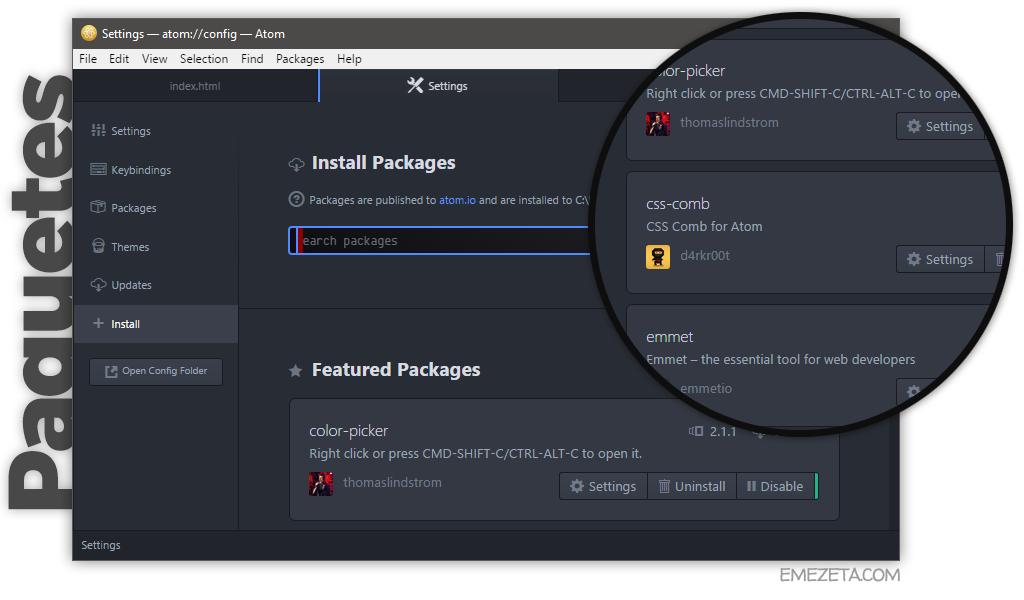 Actualmente, Atom dispone de más de 3.500 paquetes (plugins)