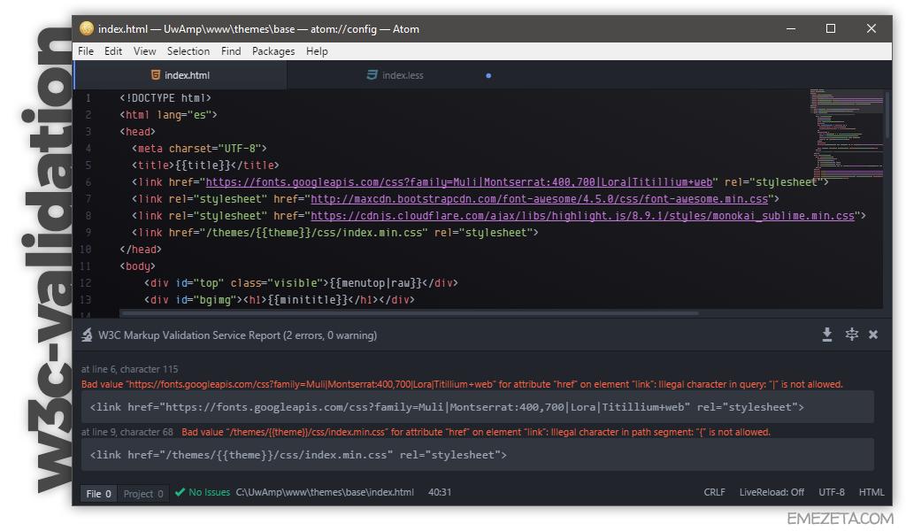 W3C Validation: Validar errores HTML directamente desde el editor
