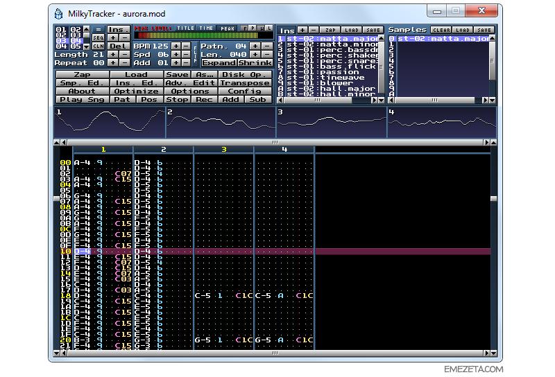 Trackers: Componer música por ordenador Milkytracker