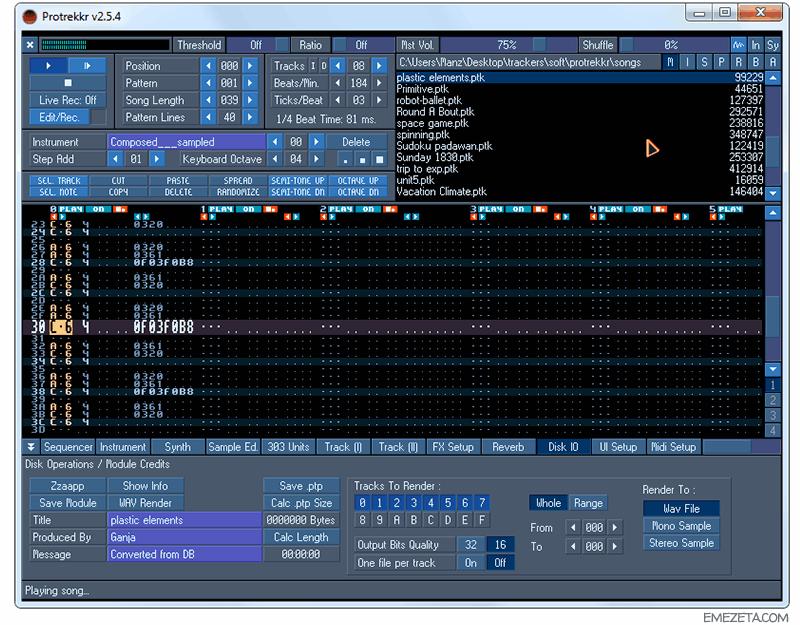 Trackers: Componer música por ordenador Protrekkr