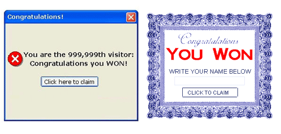 Banner con premio falso que anuncia llegar al visitante 999.999 o similar