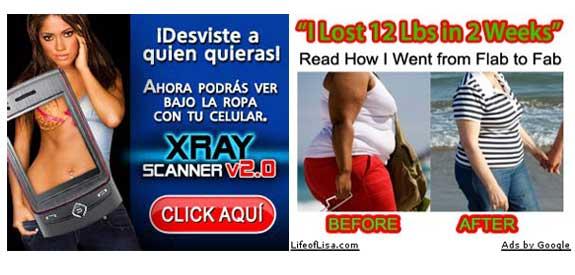 Banners que muestran un producto falso o engañoso