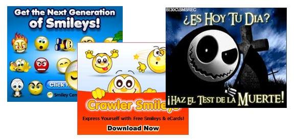 Banner con iconos o emoticonos o que al pasar el ratón por encima, reproducen un sonido generalmente llamativo y molesto