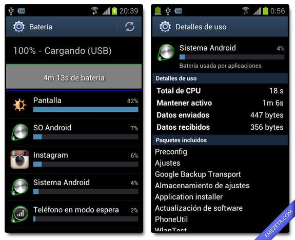 Ajustes / Batería en Android