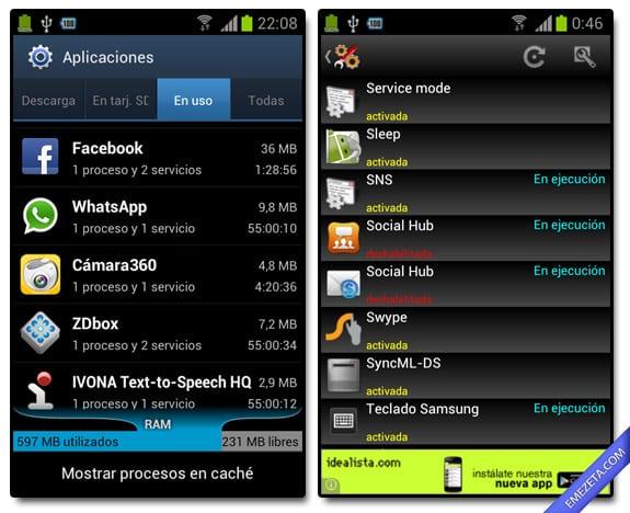 Apps en uso, servicios y aplicaciones en segundo plano