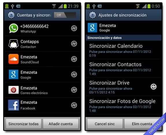 Sincronización de cuentas en Android