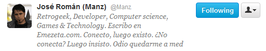 Manz: Bio de Twitter