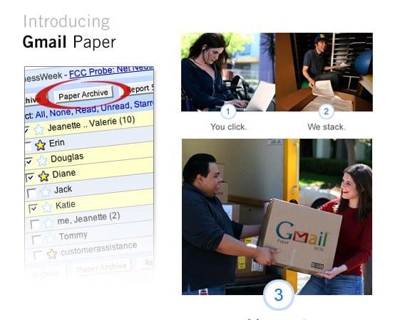 Productos ficticios de Google: Gmail paper