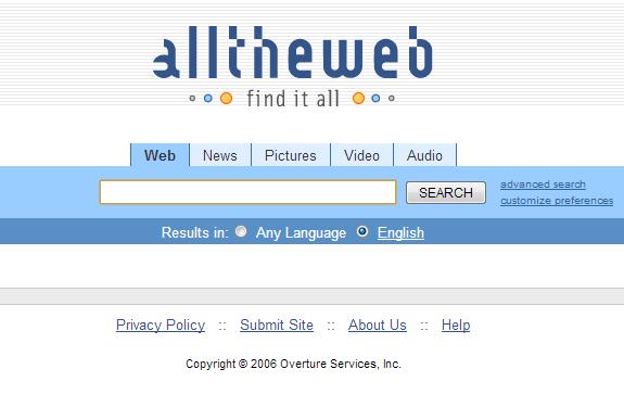 Buscadores de Internet de los 90: Alltheweb 2006