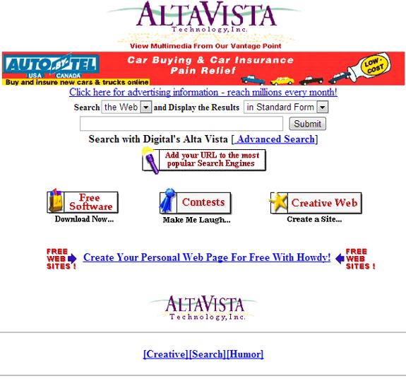Buscadores de Internet de los 90: Altavista 1996
