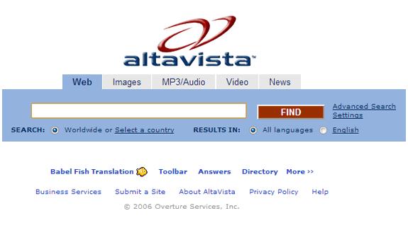 Buscadores de Internet de los 90: Altavista 2006