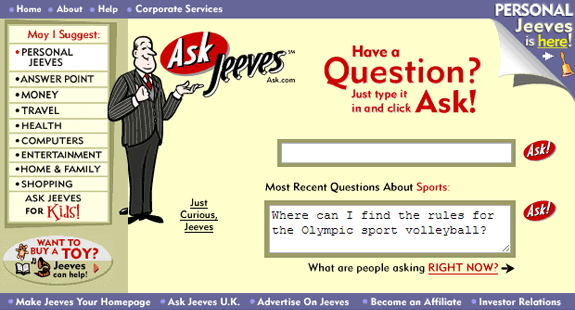 Buscadores de Internet de los 90: Ask jeeves 1999