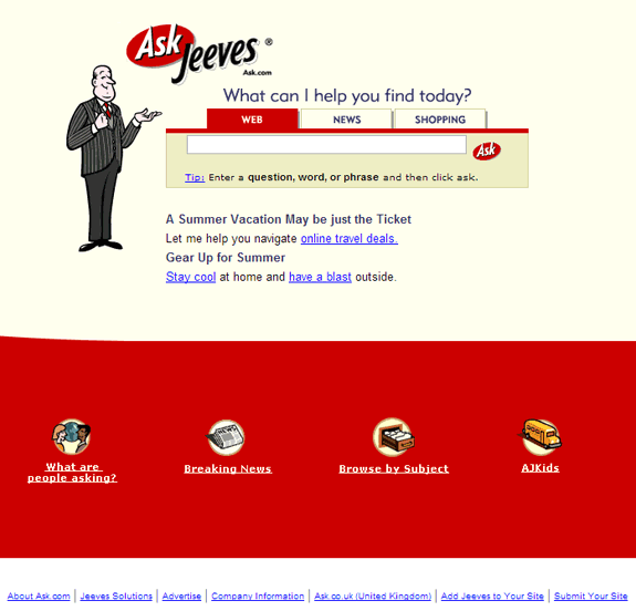 Buscadores de Internet de los 90: Ask jeeves 2002