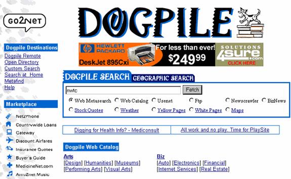 Buscadores de Internet de los 90: Dogpile 1999