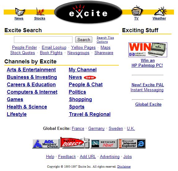 Buscadores de Internet de los 90: Excite 1997