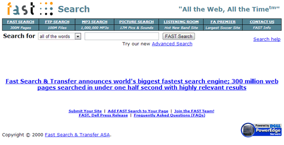 Buscadores de Internet de los 90: Fast Search 2000