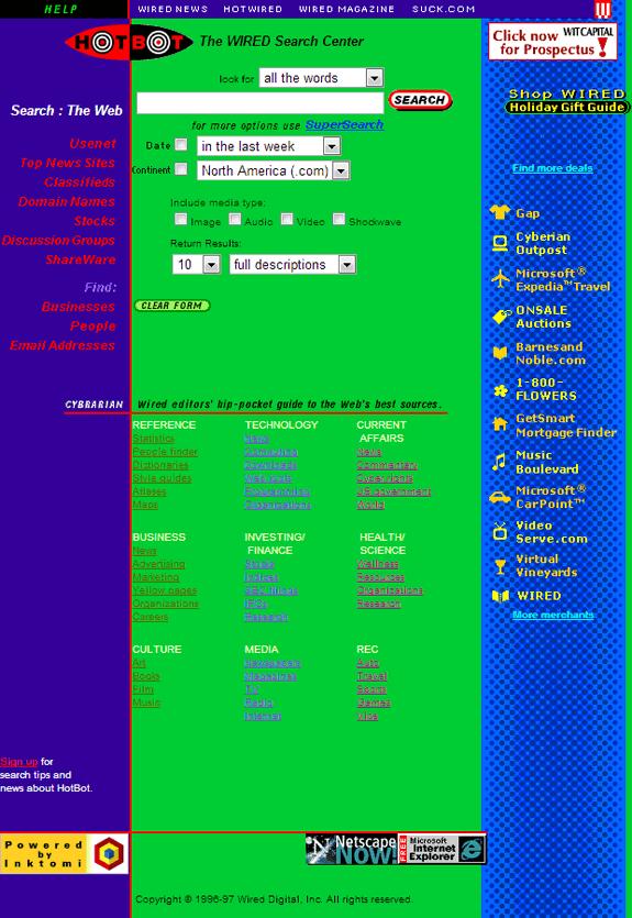 Buscadores de Internet de los 90: Hotbot 1997