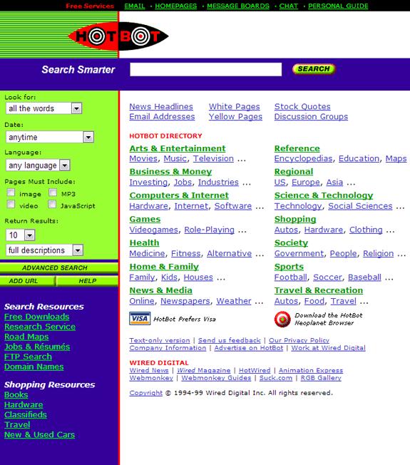 Buscadores de Internet de los 90: Hotbot 1999