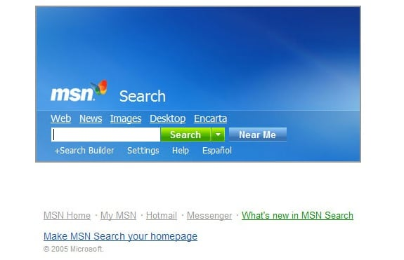 Buscadores de Internet de los 90: Msn search 2005
