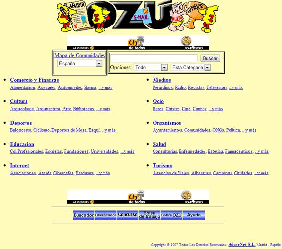 Buscadores de Internet de los 90: Ozu 1997