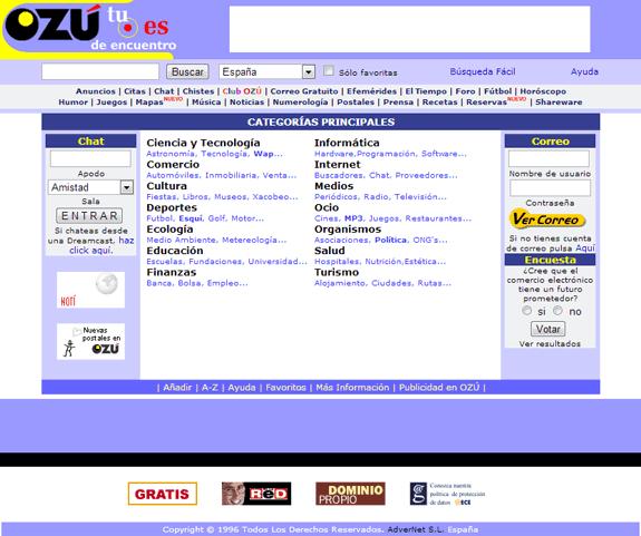 Buscadores de Internet de los 90: Ozu 1999