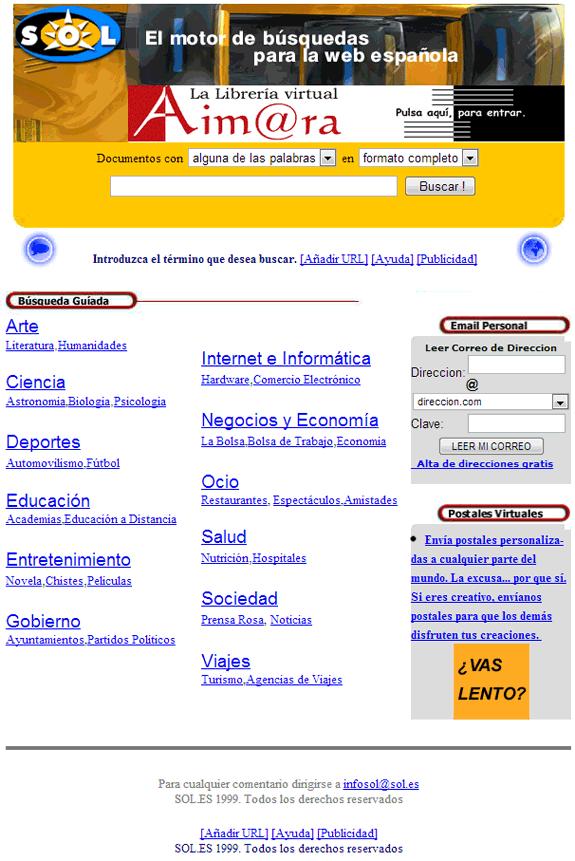 Buscadores de Internet de los 90: Sol 1999