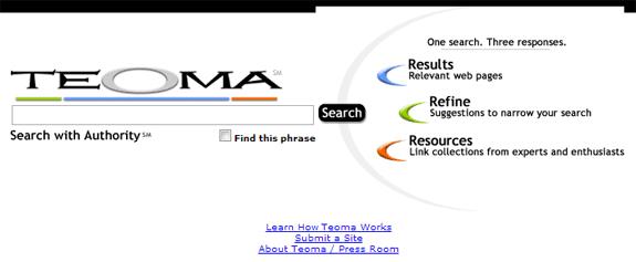 Buscadores de Internet de los 90: Teoma 2002