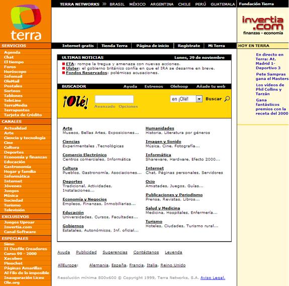 Buscadores de Internet de los 90: Terra 1999